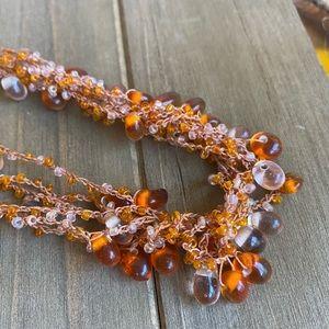 Multi-chain Coral Bead Necklace